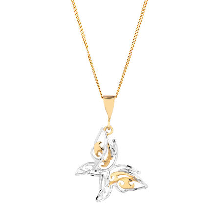 Butterfly Pendant in 10kt Yellow & White Gold