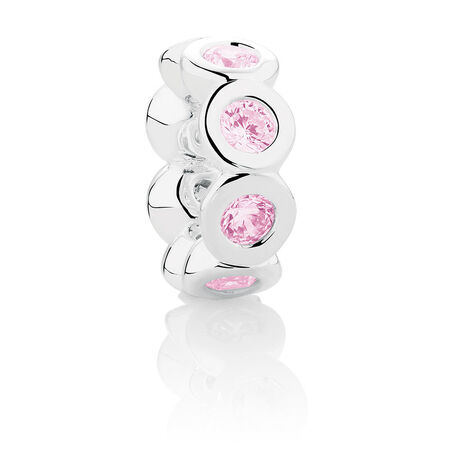 Wild Hearts Spacer with Pink Cubic Zirconia in Sterling Silver
