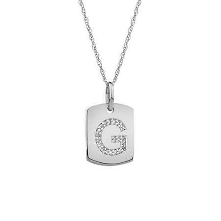"""G"" Initial Rectangular Pendant With Diamonds In 10ct White Gold"