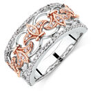 Filigree Ring with 1/3 Carat TW of Diamonds in 10kt Rose and White Gold