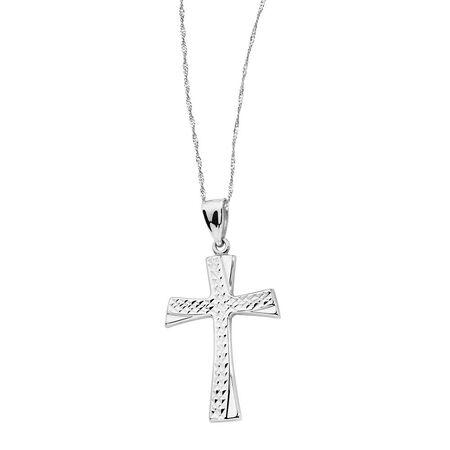 Cross Pendant in 10kt White Gold