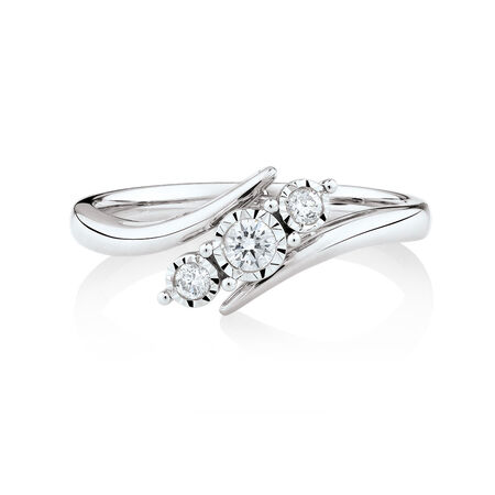 Three Stone Engagement Ring with 1/6 Carat TW of Diamonds in 10kt White Gold