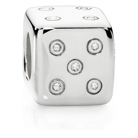 Sterling Silver & Cubic Zirconia Dice Charm