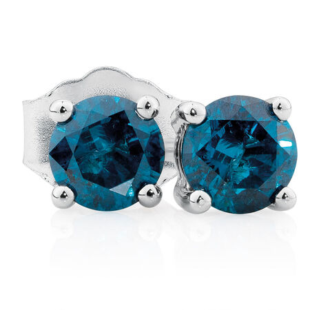 Online Exclusive - Stud Earrings with 0.46 Carat TW of Enhanced Blue Diamonds in 10kt White Gold