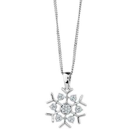 Snow Flake Pendant with 1/20 Carat TW of Diamonds in Sterling Silver
