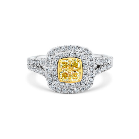 Engagement Ring with 1 Carat TW of White & Yellow Diamonds in 14kt White & Yellow Gold