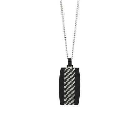 Online Exclusive - Men's Patterned Dog Tag Pendant in Black Stainless Steel