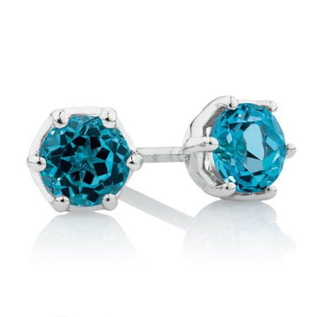 Stud Earrings with Blue Topaz in 10kt White Gold