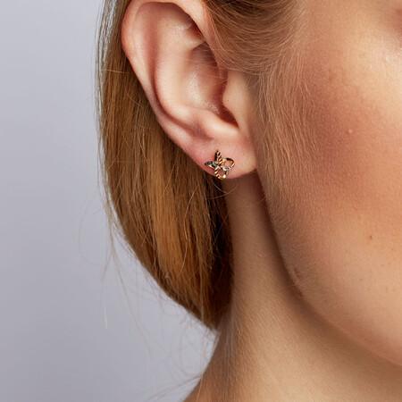 Petal Stud Earrings in 10kt Yellow, White & Rose Gold