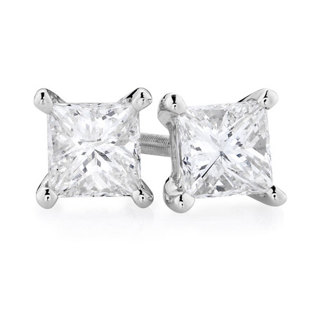 Certified Stud Earrings with 3/4 Carat TW of Diamonds in 14kt White Gold