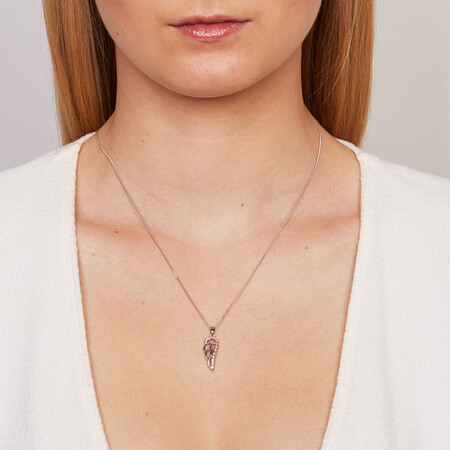 Angel Wing Pendant with 1/20 Carat TW of Diamonds in Sterling Silver