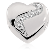 Cubic Zircona Sterling Silver Heart Charm