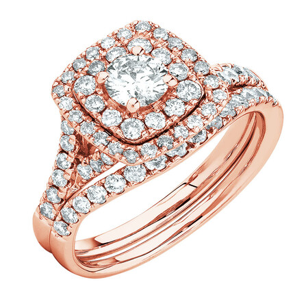 Bridal Set with 1 1/5 Carat TW of Diamonds in 14kt Rose Gold
