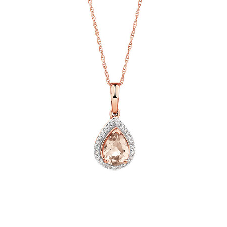 Pendant with Morganite & 1/12 Caract TW of Diamonds in 10kt Rose Gold