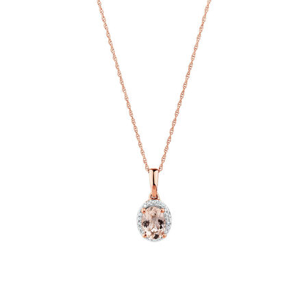 Pendant with Morganite & Diamonds in 10kt Rose Gold