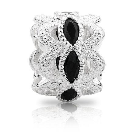 Black Cubic Zirconia & Sterling Silver Art Deco Charm