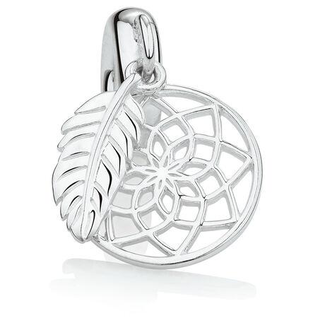 Dream Catcher Dangle Charm in Sterling Silver