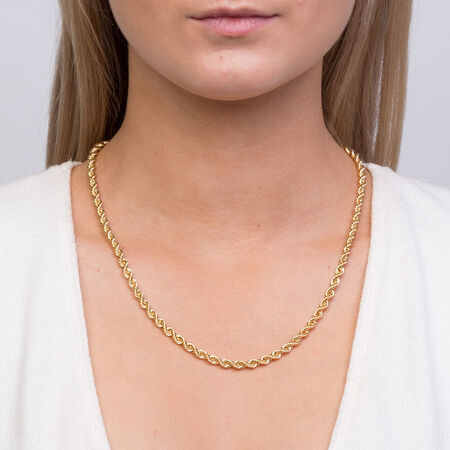 "50cm (20"") Hollow Rope Chain in 10kt Yellow Gold"