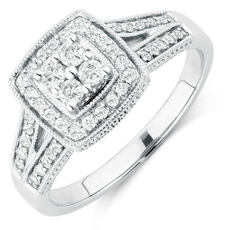 Engagement Ring with 3/8 Carat TW of Diamonds in 14kt White Gold