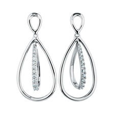 Online Exclusive - Drop Earrings with 1/10 Carat TW of Diamonds in Sterling Silver