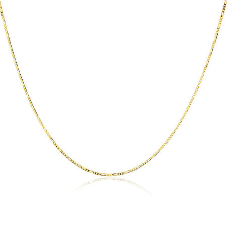 "50cm (20"") Solid Figaro Chain in 10kt Yellow Gold"