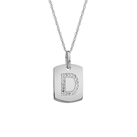 """""""D"""" Initial Rectangular Pendant With Diamonds In 10ct White Gold"""