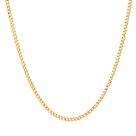 "55cm (22"") Hollow Curb Chain in 10kt Yellow Gold"
