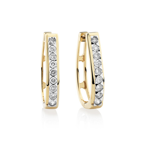 Huggie Earrings with 0.50 Karat TW of Diamonds in 10kt Yellow Gold