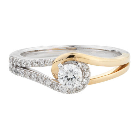 Online Exclusive - Engagement Ring with 1/2 Carat TW of Diamonds in 14kt White & Yellow Gold