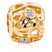 Diamond Set & 10kt Yellow Gold Flower Charm