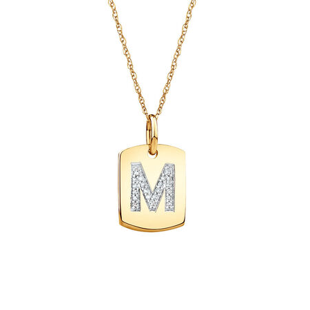 """M"""" Initial Rectangular Pendant With Diamonds In 10kt Yellow Gold"""