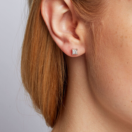 Stud Earrings with 3/4 Carat TW of Diamonds in 14kt White Gold