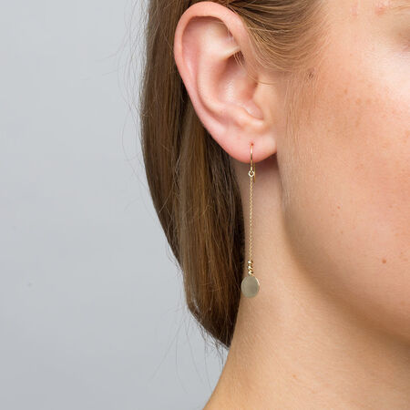 Drop Disc Earrings in 10kt Yellow Gold