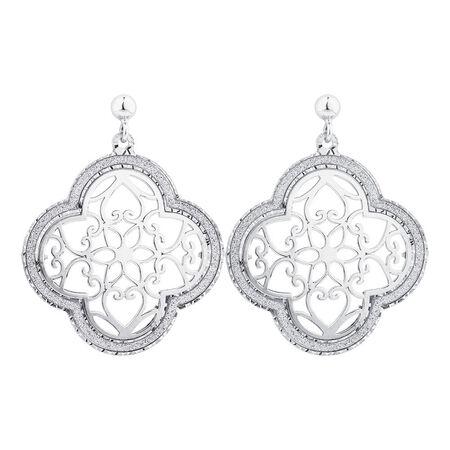 Online Exclusive - Floral Patterned Earrings In Sterling Silver
