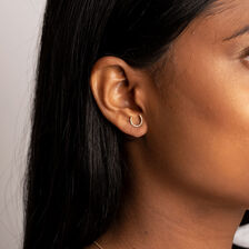 Horseshoe Stud Earrings With Diamonds In 10kt Yellow Gold
