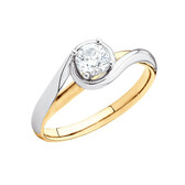Solitaire Engagement Ring with a 3/8 Carat Diamond in 14kt Yellow & White Gold