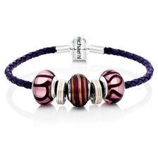 Purple Leather, Glass & Sterling Silver Charm Bracelet