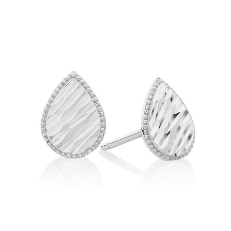 Patterned Pear Studs in 14kt White Gold