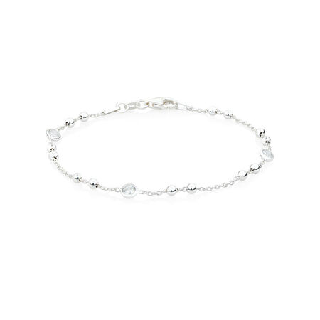 "18cm (7"") Ball Bracelet with Cubic Zirconia in Sterling Silver"