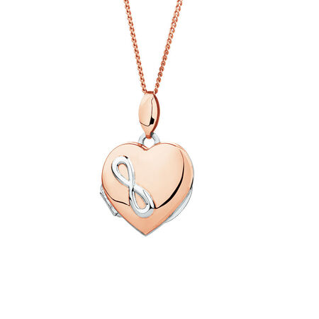 Infinity Heart Locket in 10kt Rose Gold and Sterling Silver