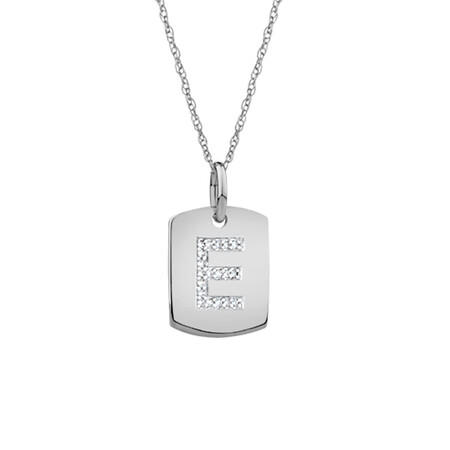 """E"" Initial Rectangular Pendant With Diamonds In 10ct White Gold"