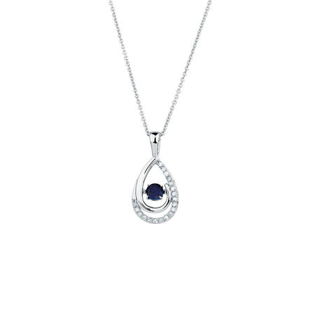 Everlight Pendant with Created Sapphire & Diamonds in Sterling Silver