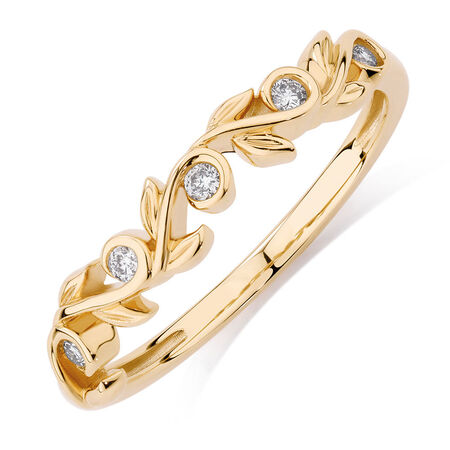 Diamond Set 10kt Yellow Gold Leaf Stack Ring