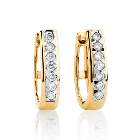 Huggie Earrings with 0.25 Karat TW of Diamonds in 10kt Yellow Gold