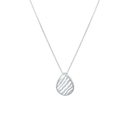 Patterned Pear Pendant in 10kt White Gold