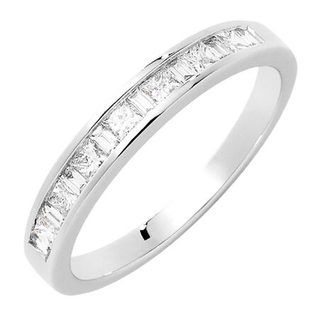 Wedding Band with 1/3 Carat TW of Diamonds in 18kt White Gold