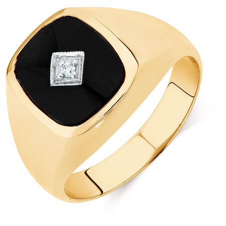 Men's Diamond Set Ring with Black Onyx in 10kt Yellow Gold