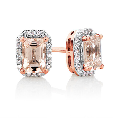 Stud Earrings with 1/10 Carat TW of Diamonds & Morganite in 10kt Rose Gold