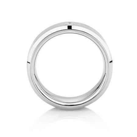8mm Men's Diamond Set Ring in Gray Tungsten