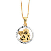 Cherub Pendant in 10kt Yellow & White Gold